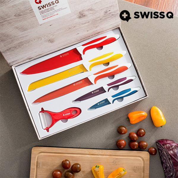 Swiss Q Ceramic Coated Knife Set (6 Pieces)-Universal Store London™