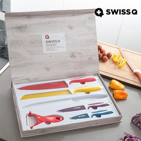 Image of Swiss Q Ceramic Coated Knife Set (6 Pieces)-Universal Store London™