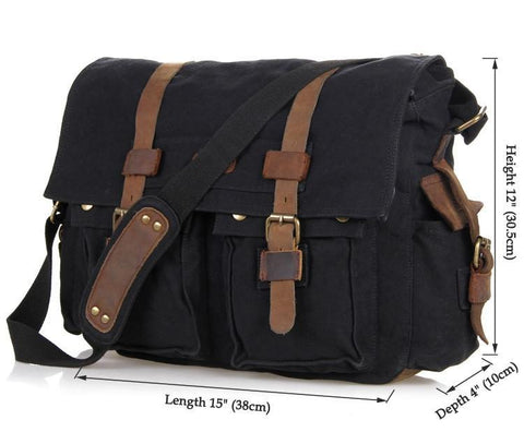 Image of 'Syracuse' Classic Leather and Canvas Messenger Bag-Universal Store London™