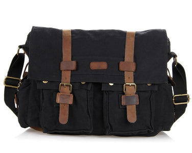 'Syracuse' Classic Leather and Canvas Messenger Bag-Universal Store London™