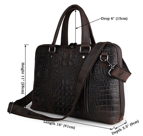 Image of Taranto Zip Dark Brown Deep Embossed Croc Print-Universal Store London™