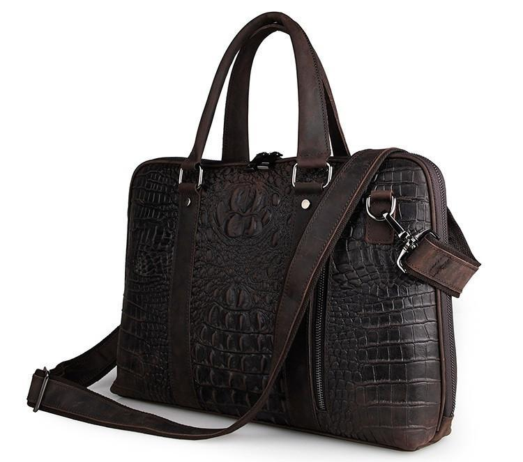 Taranto Zip Dark Brown Deep Embossed Croc Print-Universal Store London™