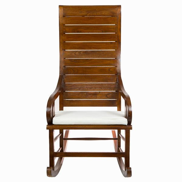 Teak rocking chair with cushion by Craften Wood-Universal Store London™