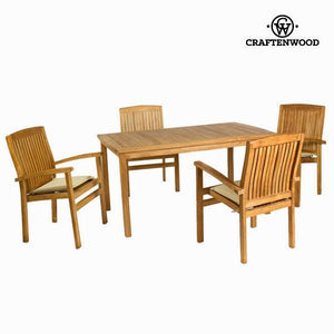 Teak table with 4 chairs by Craften Wood-Universal Store London™