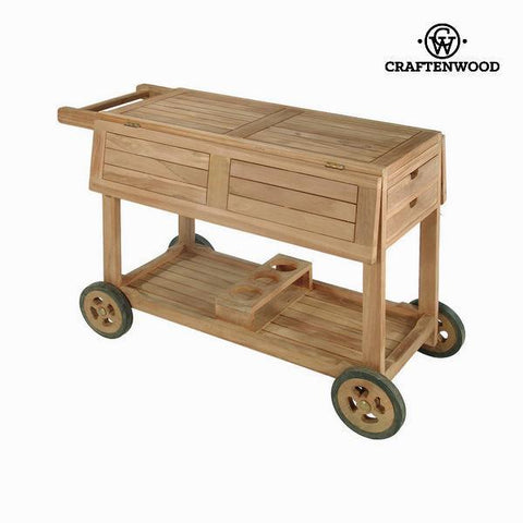 Image of Teak wood drinks trolley by Craften Wood-Universal Store London™