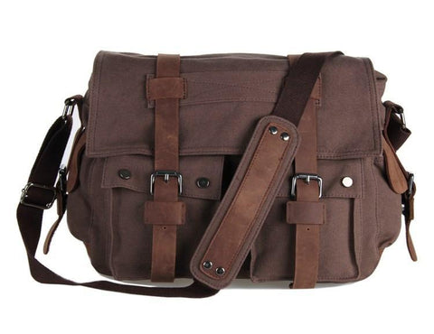 Image of 'The Emerald City' Classic Leather and Canvas Messenger Bag-Universal Store London™