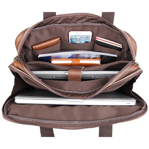 Top Grain Leather Laptop Bag Business Briefcase - Brown-Universal Store London™