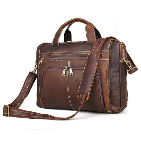 Image of Top Grain Leather Laptop Bag Business Briefcase - Brown-Universal Store London™