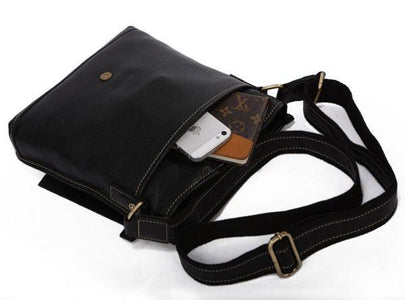Unisex Genuine Leather Messenger Crossover Bag - Black-Universal Store London™