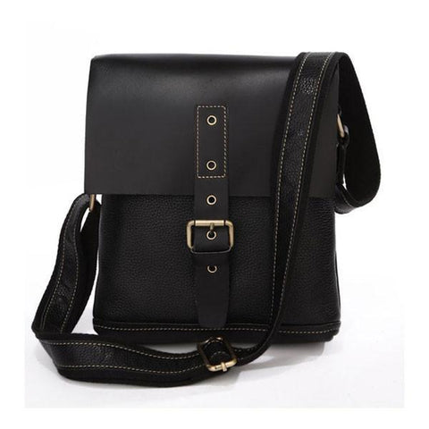 Image of Unisex Genuine Leather Messenger Crossover Bag - Black-Universal Store London™