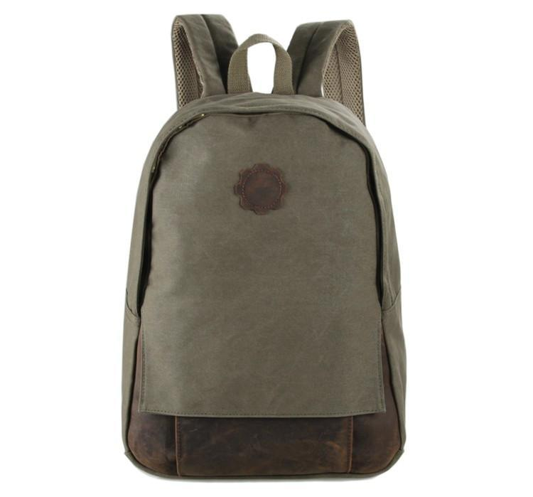 Universal London Canvas and Leather Backpack - Army Green-Universal Store London™