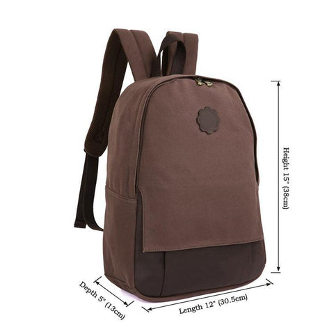 Image of Universal London Canvas and Leather Backpack - Dark Brown-Universal Store London™