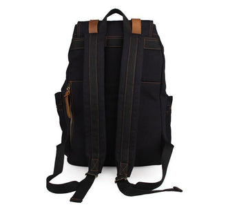 'Venice' Classic Genuine Leather Canvas Backpack-Universal Store London™