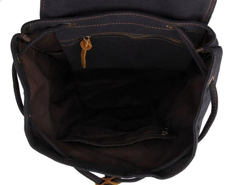 Image of 'Venice' Classic Genuine Leather Canvas Backpack-Universal Store London™