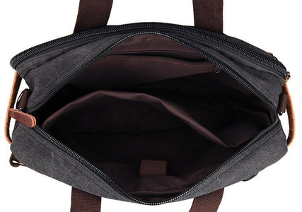 Versatile Canvas and Leather Convertable Messenger Bag Backpack - Black-Universal Store London™