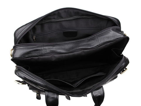 Image of Versatile Handmade Black Leather Briefcase Backpack Messenger Bag-Universal Store London™