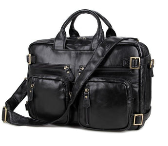 Versatile Handmade Black Leather Briefcase Backpack Messenger Bag-Universal Store London™