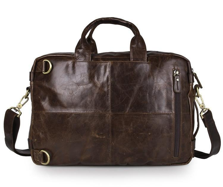 Versatile Handmade Brown Leather Briefcase Backpack Messenger Bag-Universal Store London™