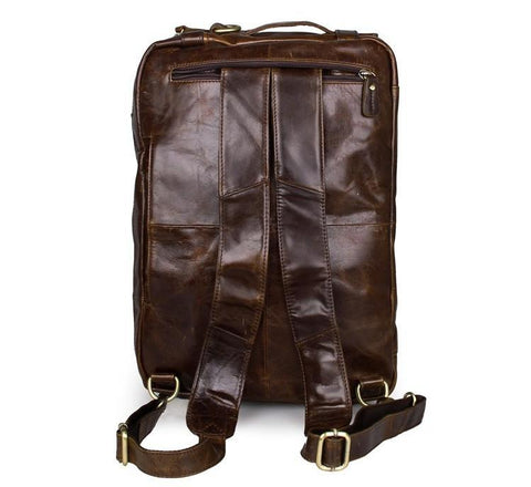 Image of Versatile Handmade Brown Leather Briefcase Backpack Messenger Bag-Universal Store London™