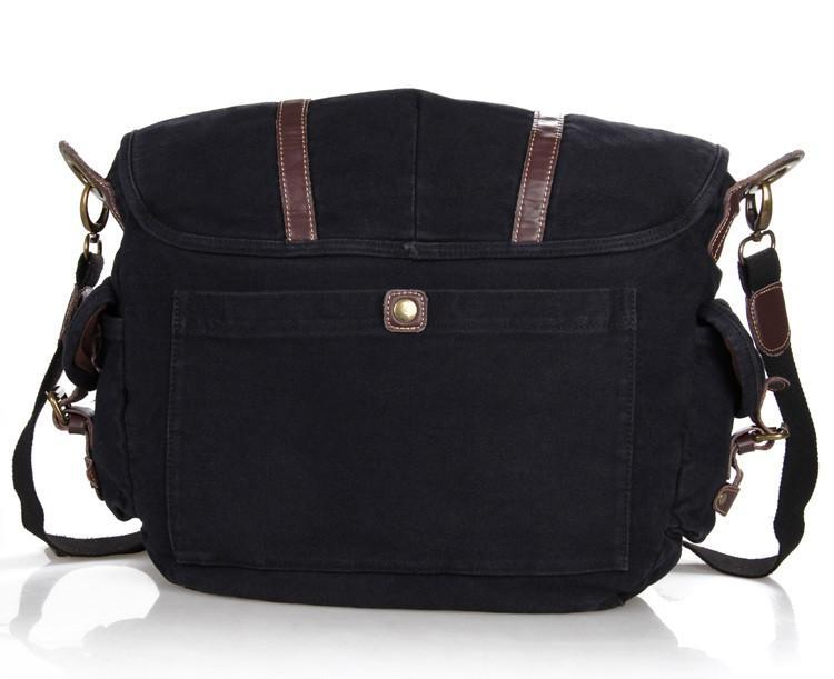 Vintage Black Canvas and Leather Messenger Bag-Universal Store London™