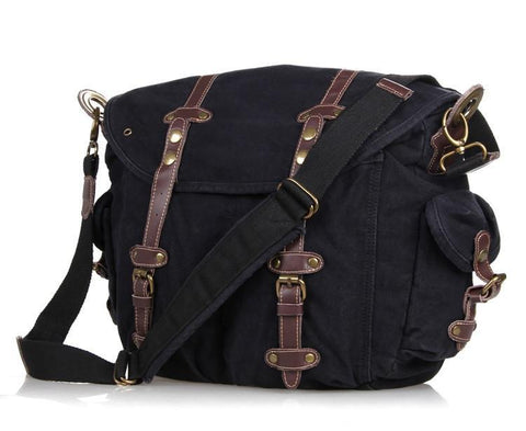 Image of Vintage Black Canvas and Leather Messenger Bag-Universal Store London™