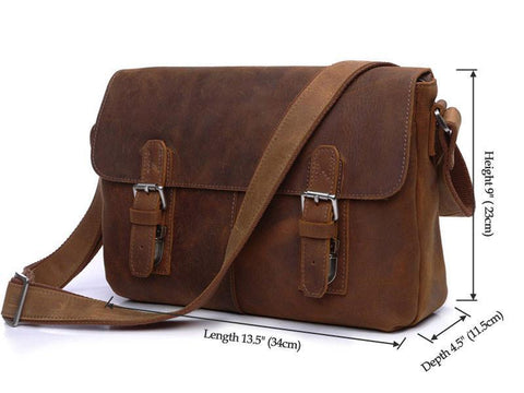 Image of Vintage Calf Leather Messenger Bag - Brown-Universal Store London™