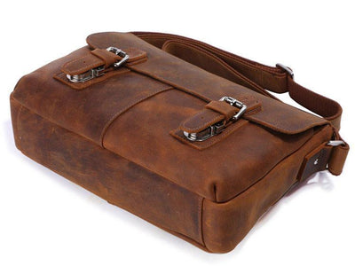 Vintage Calf Leather Messenger Bag - Brown-Universal Store London™