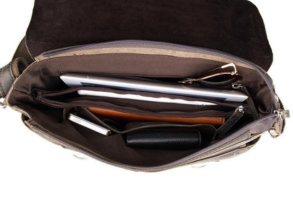 Vintage Calf Leather Messenger Bag - Dark Brown-Universal Store London™