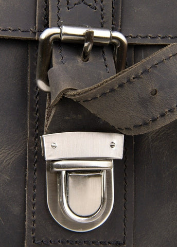 Image of Vintage Calf Leather Messenger Bag - Dark Brown-Universal Store London™