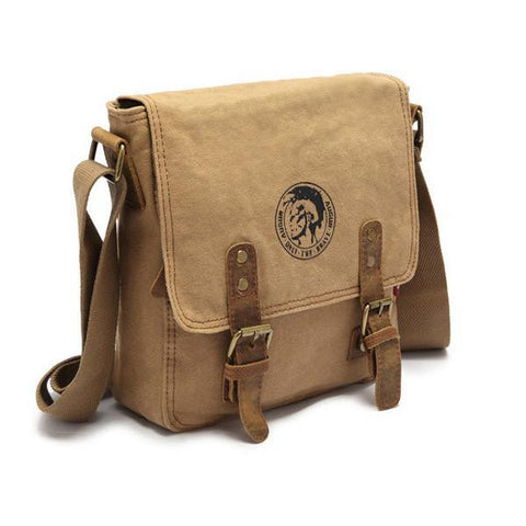 Image of Vintage Canvas Genuine Leather Small Messenger Shoulder Bag-Universal Store London™