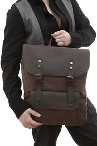 Vintage Casual Canvas & Leather Backpack-Universal Store London™