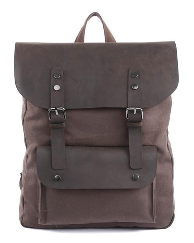 Image of Vintage Casual Canvas & Leather Backpack-Universal Store London™