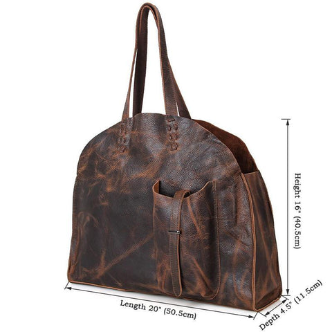 Image of Vintage Leather Handmade Jet Set Travel Ziptop Tote Bag - 2-Universal Store London™