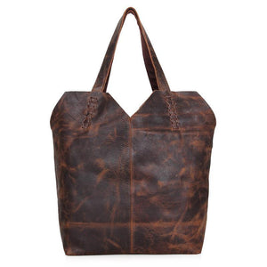 Vintage Leather Handmade Jet Set Travel Ziptop Tote Bag-Universal Store London™