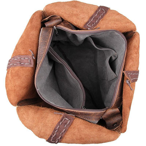 Image of Vintage Leather Handmade Jet Set Travel Ziptop Tote Bag-Universal Store London™