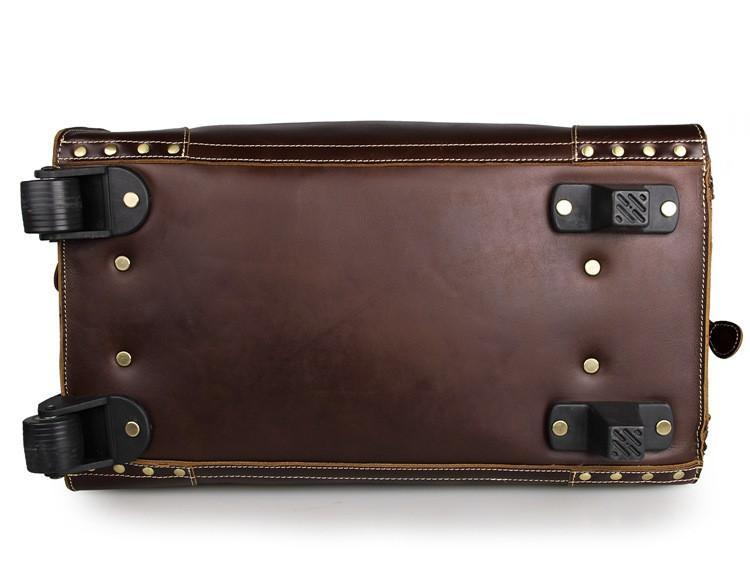 'Voyager' Leather Travel Bag With Wheels-Universal Store London™