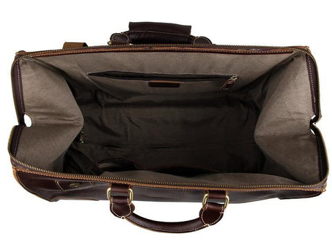 Image of 'Voyager' Leather Travel Bag With Wheels-Universal Store London™