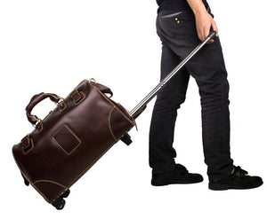 Voyager Leather Travel Bag With Wheels-Universal Store London™