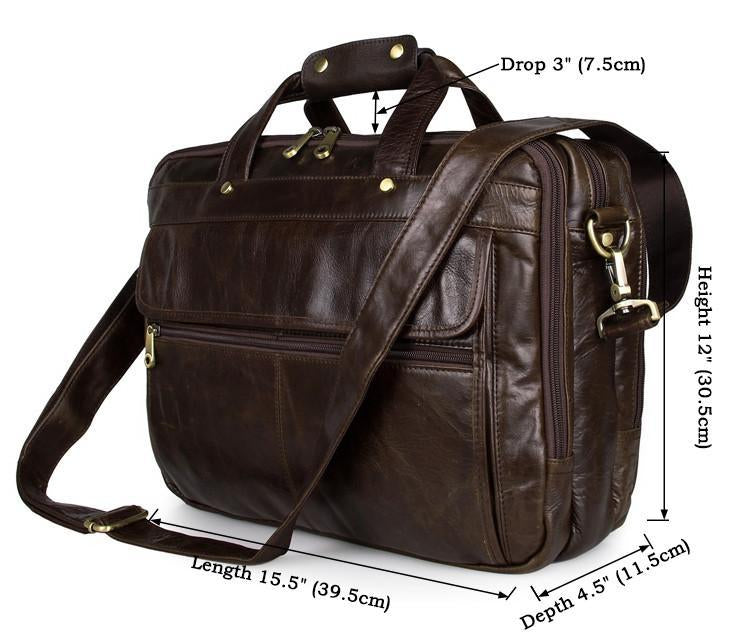 'Voyager' Triple Gusset Leather Briefcase - Brown-Universal Store London™