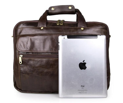Image of 'Voyager' Triple Gusset Leather Briefcase - Brown-Universal Store London™