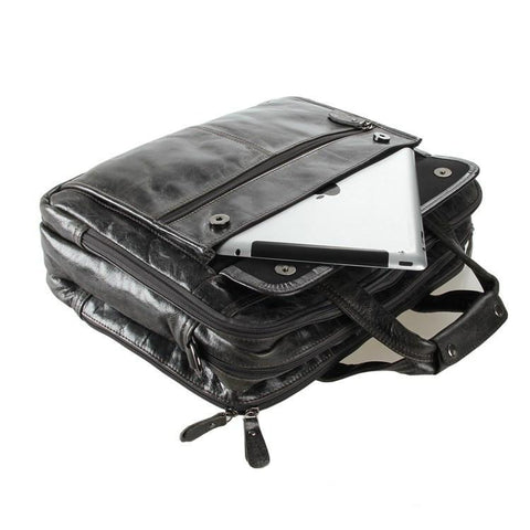 Image of 'Voyager' Triple Gusset Leather Briefcase - Dark Grey-Universal Store London™