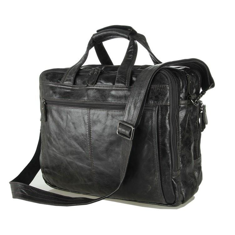 'Voyager' Triple Gusset Leather Briefcase - Dark Grey-Universal Store London™