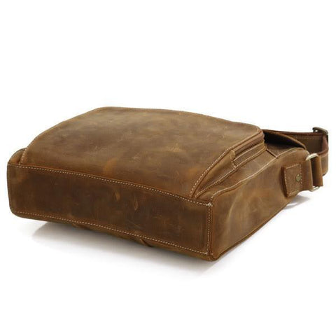 Image of 'Wild West' Handmade Small Leather Messenger Bag - Brown-Universal Store London™