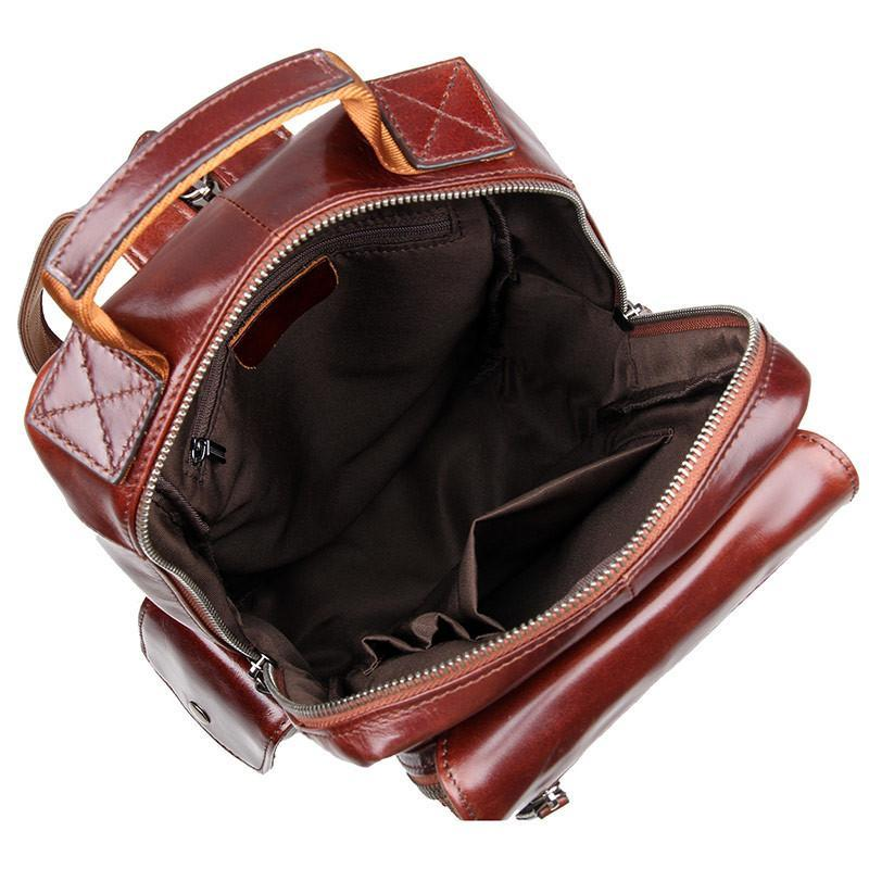 Women's Leather Backpack with Zipped Straps-Universal Store London™