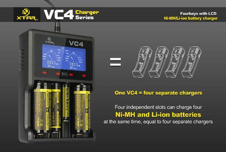 XTAR VC4 Universal Lithium/NiMH Battery Charger 18650 26650 32650 14500 Aa Aaa-Universal Store London™