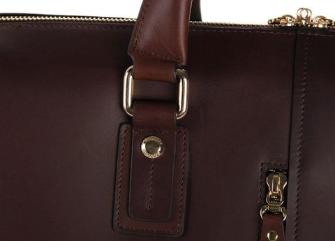 Image of Zip-Top Vintage Leather Briefcase Laptop Business Bag-Universal Store London™