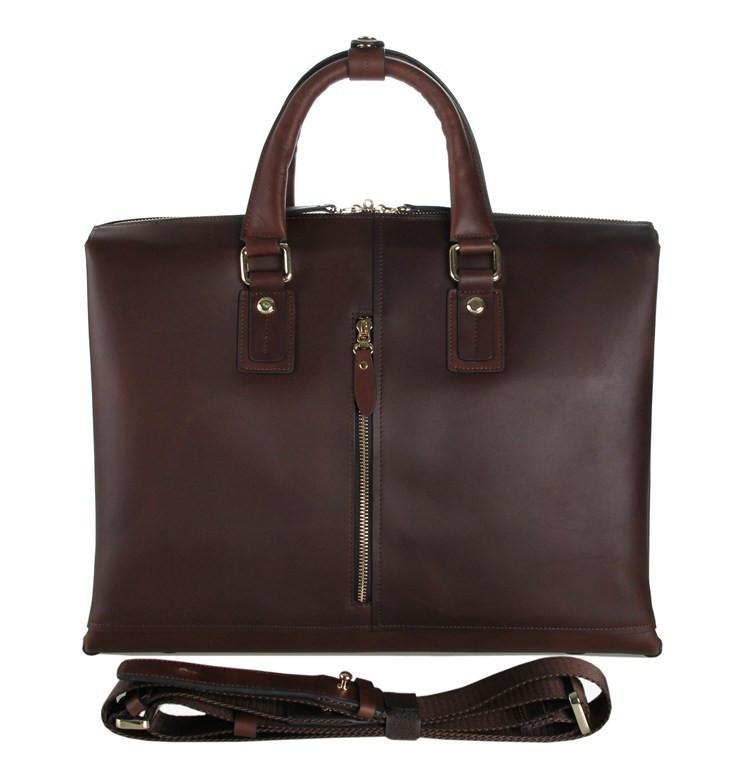 Zip-Top Vintage Leather Briefcase Laptop Business Bag-Universal Store London™