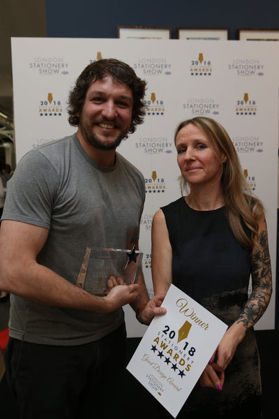 Justin Avery receiving the Good Design award from Jo Irons at the London Stationery Show 2018