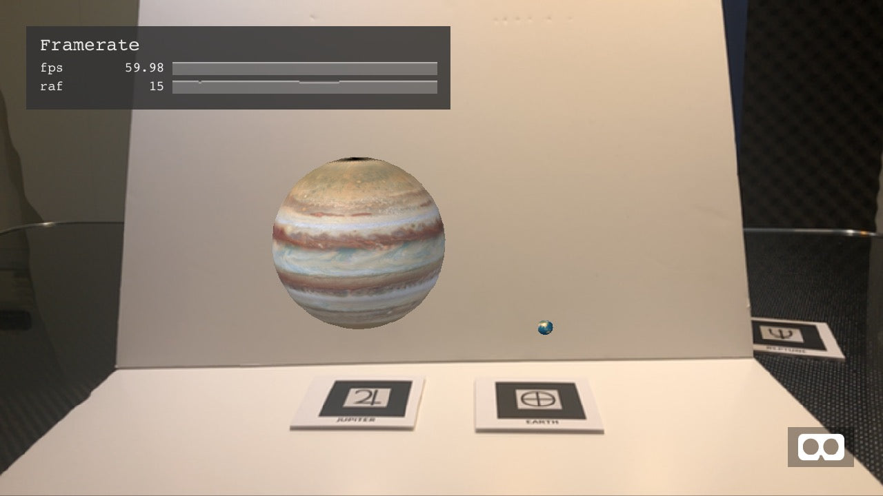 Jupiter next to Earth in Augmented Reality