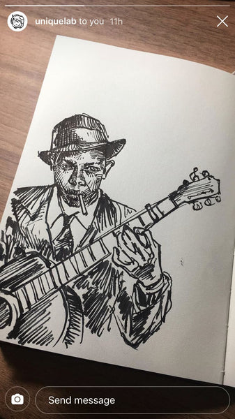 Robert Johnson Ink Sketch playing the guitar